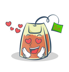 In love tea bag character cartoon vector