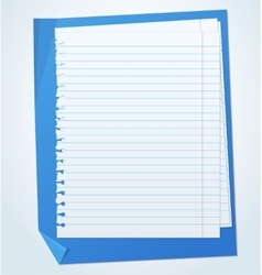 Lined exercise sheets and sheet of blue paper with vector image vector image