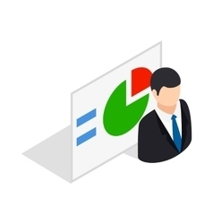 Man and statistics icon isometric 3d style vector image vector image
