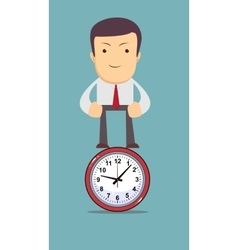 Man stands on the clock as symbol time management vector