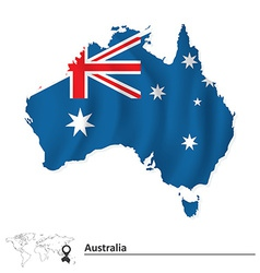 Map of Australia with flag vector image vector image