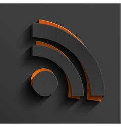 modern RSS feed sign with shadow vector image vector image