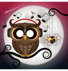 owl wearing headphones vector image vector image