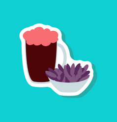Paper sticker beer and nuts vector
