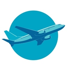 Passenger plane in flight bottom view vector