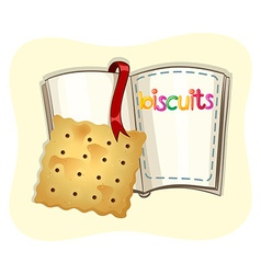 Piece of biscuit and a book vector image