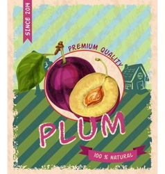 Plum retro poster vector