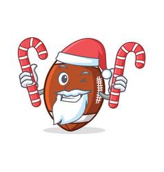 santa american football character cartoon with vector image