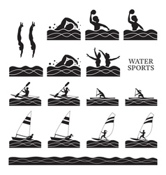 Sports athletes water sports silhouette set vector