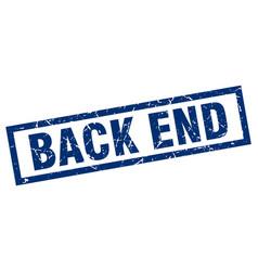 Square grunge blue back end stamp vector