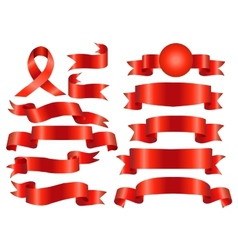 The collection red ribbons banners vector image vector image