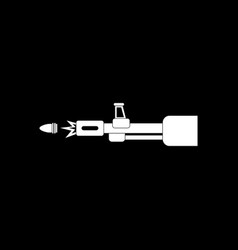 White icon on black background machine gun bullet vector