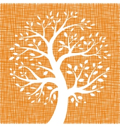 White tree icon on orange canvas texture vector