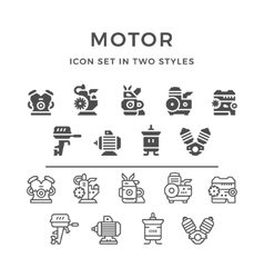 Set icons of motor and engine vector