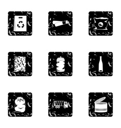 Types of waste icons set grunge style vector