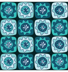 seamless pattern with squares and flowers vector image