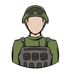 Soldier icon cartoon vector
