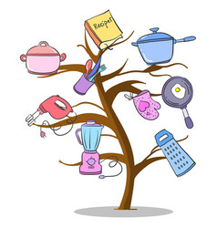 Tree kitchen set accessories doodle vector