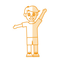 Orange silhouette shading caricature guy with open vector