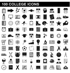 100 college icons set simple style vector image