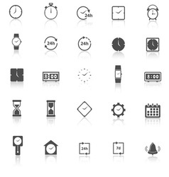 Time icons with reflect on white background vector