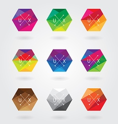 Hexagonal logo designs vector
