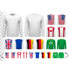 Collection of various male long sleeved shirts vector