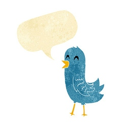 Cartoon happy bird with speech bubble vector