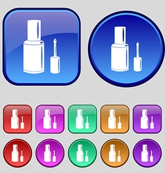 Nail polish bottle icon sign a set of twelve vector