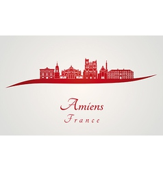 Amiens skyline in red vector image vector image