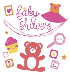 Baby shower set for girl vector