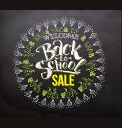 back to school sale lettering with icons vector image vector image