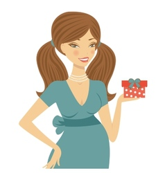 Beautiful mom to be holding gift box vector