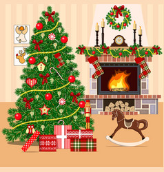 christmas decorated room with christmas tree vector image