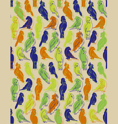 Cockatoo and parrots pattern vector