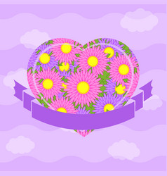 color isolated heart against a sky with clouds vector image vector image