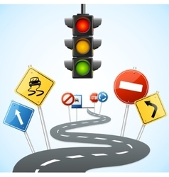 Concept of Road with Traffic Lights vector image vector image