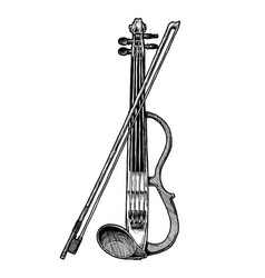 electric violin with bow vector image vector image