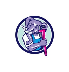 Elephant plumber mascot monkey wrench circle retro vector