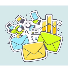 Envelopes and financial documents on colo vector