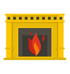 Fireplace with fire burning icon isolated vector
