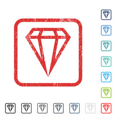 Gem icon rubber watermark vector