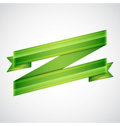 Green ribbon on gray vector image vector image
