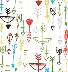 Hand drawn arrows and bows seamless pattern vector image vector image