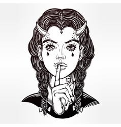 Hand drawn artwork of female demon portriat vector