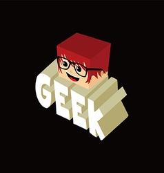 isometric female geek cartoon character vector image