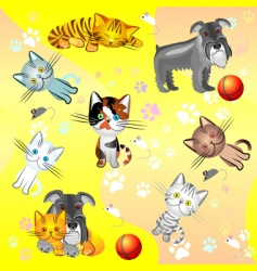 kittens and dog vector image vector image