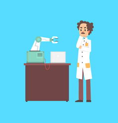 Male scientist cartoon character working with vector