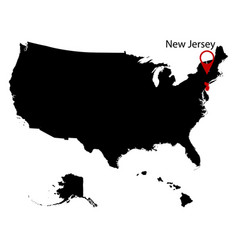 map of the us state of new jersey vector image vector image