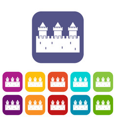 Medieval wall and towers icons set flat vector
